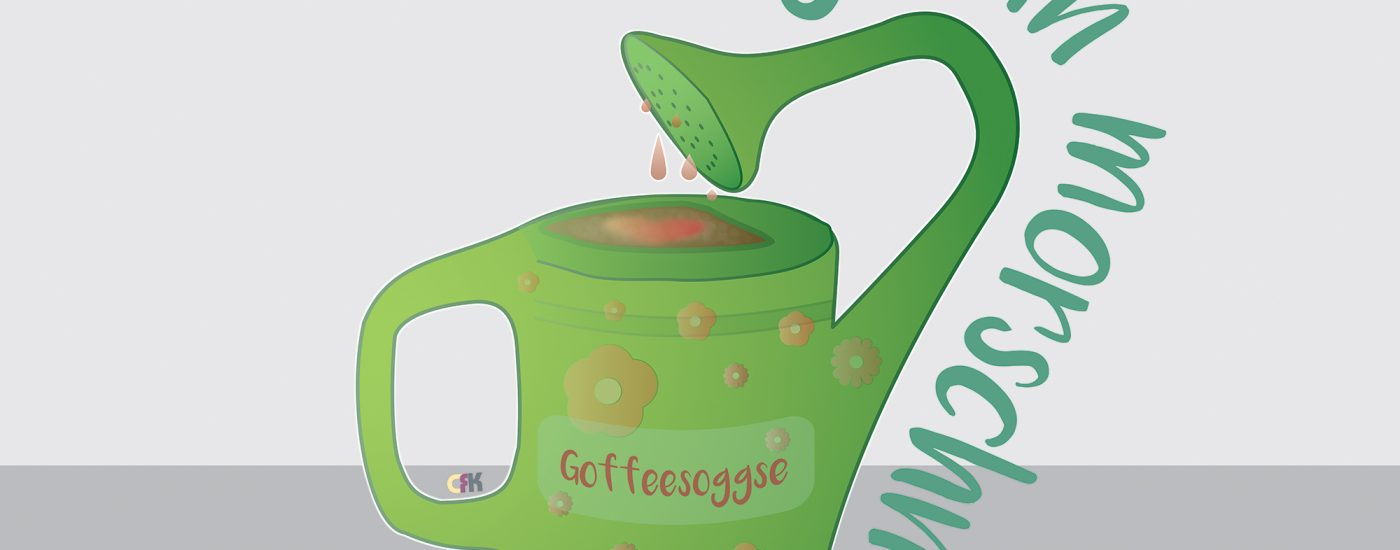 Goffeesoggse - Guuudn Morschn - Standleitung - Kaffeeliebe. Vektorgrafik.